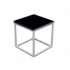 """Loungetisch """"New York Steel 80x80x45 schwarze Platte beleuchtet"""