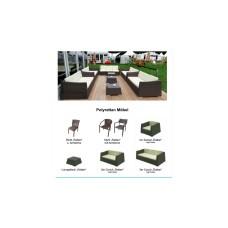 SET Rattanlounge 2 x 1er Sessel, 1x 2er Couch, 1 Loungetisch