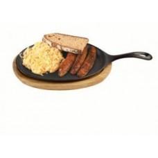 Servierpfanne mit Holzunterteller 24,5 x 18cm oval