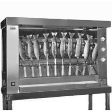 Spanferkelgrill klein/ Steckerlfischgrill Gas, ohne Unterbau 230V, kein Holzspieß für Steckerlfisch dabei