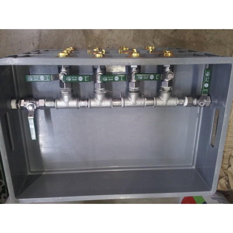 """Trinkwasserverteilerstation 5 - fach Abgang, Box 60 x 40 cm, Rohr 3/4""""  Kugelhähne"""